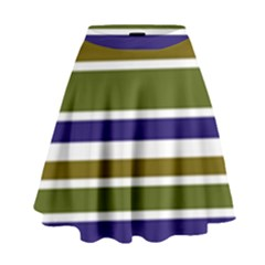 Olive Green Blue Stripes Pattern High Waist Skirt