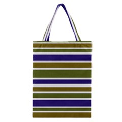 Olive Green Blue Stripes Pattern Classic Tote Bag