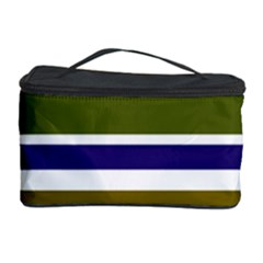 Olive Green Blue Stripes Pattern Cosmetic Storage Cases