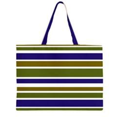 Olive Green Blue Stripes Pattern Large Tote Bag