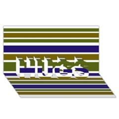 Olive Green Blue Stripes Pattern HUGS 3D Greeting Card (8x4)