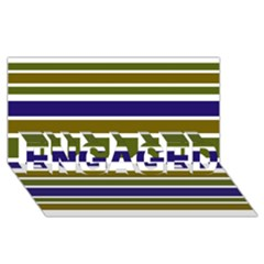 Olive Green Blue Stripes Pattern ENGAGED 3D Greeting Card (8x4)