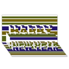 Olive Green Blue Stripes Pattern Happy New Year 3D Greeting Card (8x4)