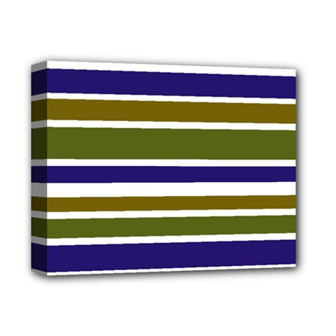 Olive Green Blue Stripes Pattern Deluxe Canvas 14  x 11