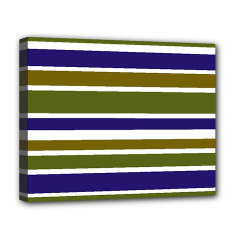Olive Green Blue Stripes Pattern Deluxe Canvas 20  x 16