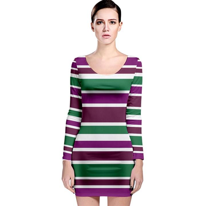Purple Green Stripes Long Sleeve Bodycon Dress