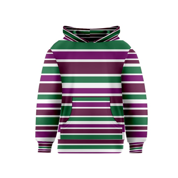 Purple Green Stripes Kids  Pullover Hoodie