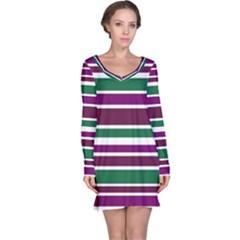 Purple Green Stripes Long Sleeve Nightdress