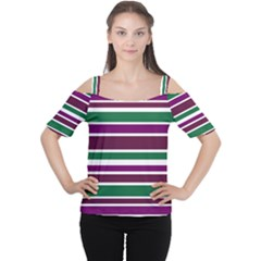 Purple Green Stripes Women s Cutout Shoulder Tee