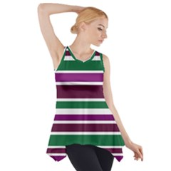 Purple Green Stripes Side Drop Tank Tunic