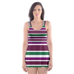 Purple Green Stripes Skater Dress Swimsuit
