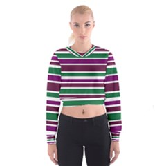 Purple Green Stripes Women s Cropped Sweatshirt