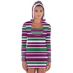 Purple Green Stripes Women s Long Sleeve Hooded T-shirt