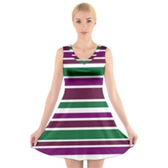 Purple Green Stripes V Neck Sleeveless Skater Dress