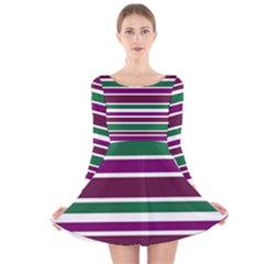 Purple Green Stripes Long Sleeve Velvet Skater Dress
