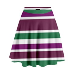 Purple Green Stripes High Waist Skirt