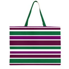 Purple Green Stripes Large Tote Bag