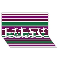 Purple Green Stripes PARTY 3D Greeting Card (8x4)