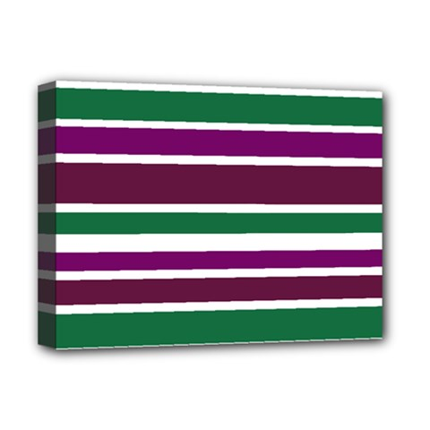 Purple Green Stripes Deluxe Canvas 16  x 12