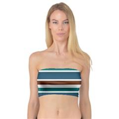 Teal Brown Stripes Bandeau Top