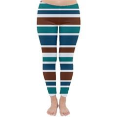 Teal Brown Stripes Winter Leggings