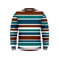 Teal Brown Stripes Kids  Sweatshirt