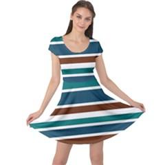 Teal Brown Stripes Cap Sleeve Dresses