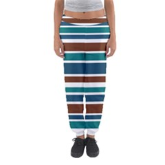 Teal Brown Stripes Women s Jogger Sweatpants