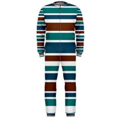 Teal Brown Stripes OnePiece Jumpsuit (Men)
