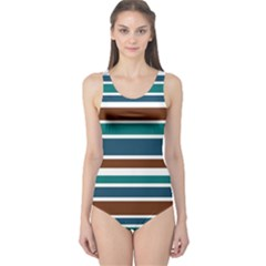 Teal Brown Stripes One Piece Swimsuit