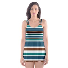 Teal Brown Stripes Skater Dress Swimsuit
