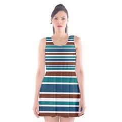 Teal Brown Stripes Scoop Neck Skater Dress
