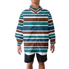 Teal Brown Stripes Wind Breaker (Kids)