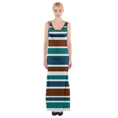 Teal Brown Stripes Maxi Thigh Split Dress