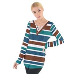 Teal Brown Stripes Women s Tie Up Tee