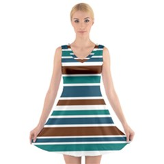 Teal Brown Stripes V Neck Sleeveless Skater Dress
