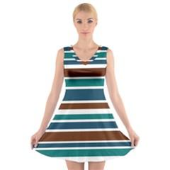 Teal Brown Stripes V-Neck Sleeveless Skater Dress