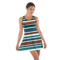 Teal Brown Stripes Racerback Dresses