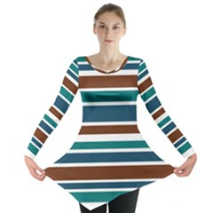 Teal Brown Stripes Long Sleeve Tunic
