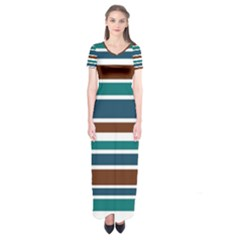 Teal Brown Stripes Short Sleeve Maxi Dress