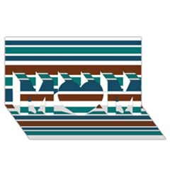 Teal Brown Stripes Mom 3d Greeting Card (8x4)