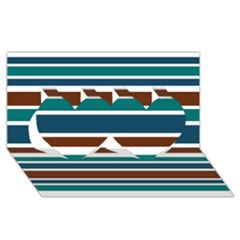 Teal Brown Stripes Twin Hearts 3D Greeting Card (8x4)