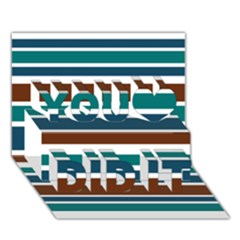 Teal Brown Stripes You Did It 3D Greeting Card (7x5)