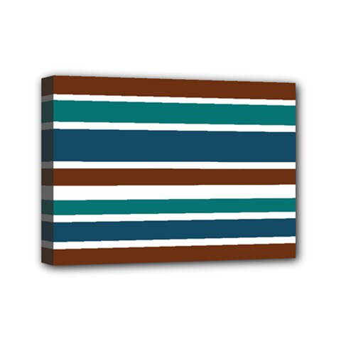Teal Brown Stripes Mini Canvas 7  x 5