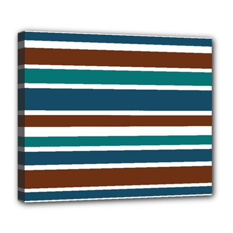 Teal Brown Stripes Deluxe Canvas 24  x 20