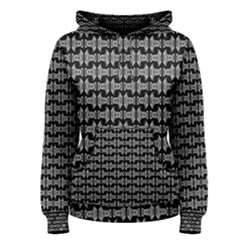 Black White Tiki Pattern Women s Pullover Hoodie