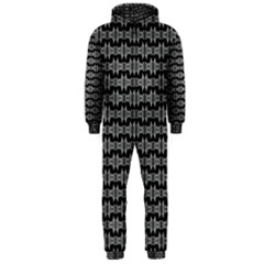 Black White Tiki Pattern Hooded Jumpsuit (Men)