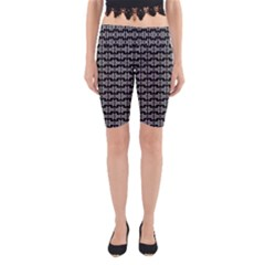 Black White Tiki Pattern Yoga Cropped Leggings