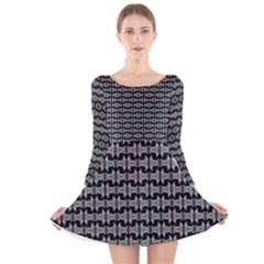 Black White Tiki Pattern Long Sleeve Velvet Skater Dress