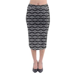 Black White Tiki Pattern Midi Pencil Skirt